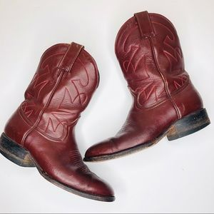 1970s Vintage Montana Red Leather Cowboy Boots 10